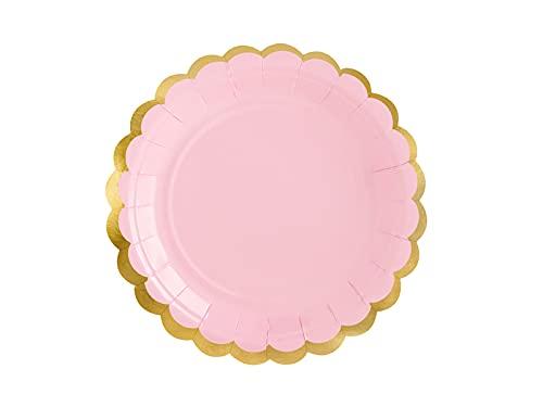 PartyDeco Lot de 6 grandes assiettes en carton rose avec bords dorés