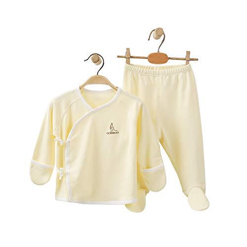 COBROO - Juego de pijama para bebé, tallas de 0 a 6meses, 100% algodón, polainas y camiseta cruzada con cierre de lazo y manoplas C-amarillo 0-3 Meses