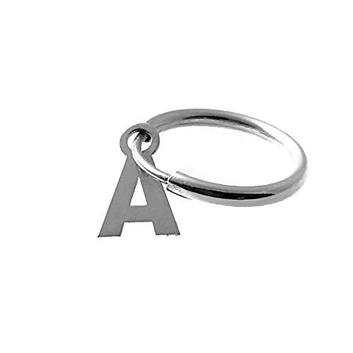 Pendiente plata Ley 925m medio par aro 14mm. personalizable letra lisa colgando