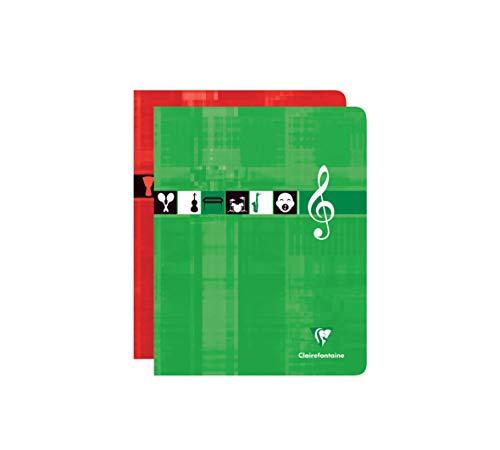 Clairefontaine 63797AMZC - Un lot de 2 cahiers piqués de musique et chants 56 pages 17x22 cm 90g grands carreaux et portées, couvertures carte pelliculées assorties aléatoires
