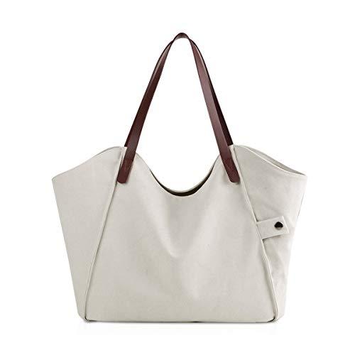NICOLE & DORIS Canvas Umhängetasche Damen Strandtasche Vintage Shopper Schultertasche Casual Handtasche Frau Tote Bag Großer Henkeltasche Cremeweiß