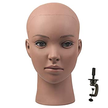 Afro American Mannequin Head for Wigs Black Styrofoam Mannequin Head with Female Face Bald Mannequin Head for Making Wigs