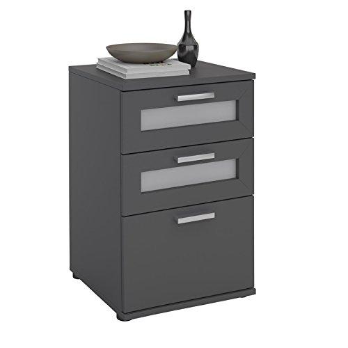 CARO-Möbel Nachttisch für Boxspringbetten Nachtschrank Nachtkommode MARIKE in grau, mit 3 Schubladen