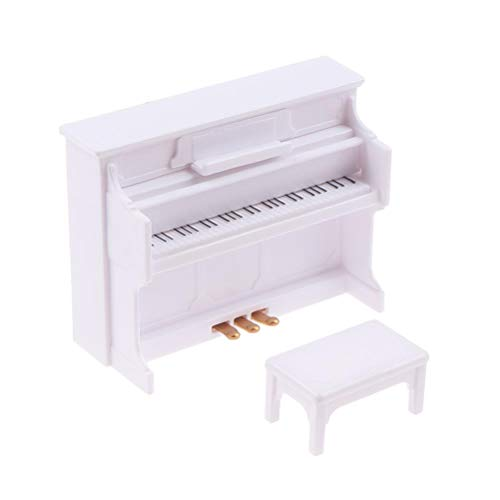 Poluka Mini Piano Model Miniature with Chair Sheet Music 1/12 Scale Dollhouse Musical Instrument Ornaments for Dollhouse Furniture Accessories Gift Collection Home Desktop Decoration