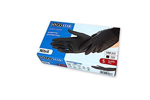 Guantes desechables de nitrilo HYGOSTAR Safe Light de un solo uso, talla S, 100 unidades por caja, sin polvo, hipoalergénicos, no esterilizados, color negro