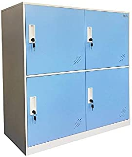 Kids Living Room Locker 4 Door Metal Locker Small Size Storage for School Bags Shoes and Toy (Blue)