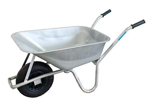 TrutzHolm® Schubkarre 100 l bis 250 kg Luftreifen mit Luftschlauch Stahlwanne voll verzinkt Stärke 0,9 mm Gartenschubkarre Bauschubkarre Schiebkarre Gartenkarre