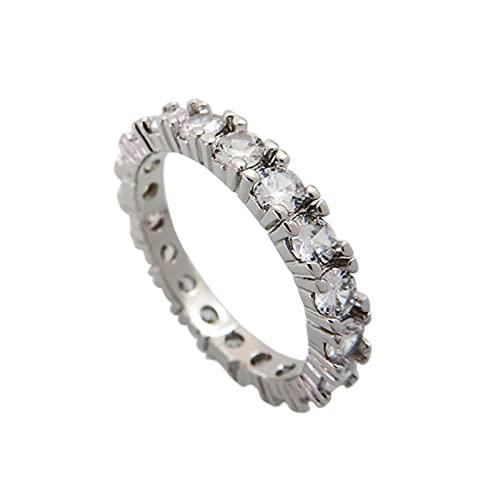 minjiSF Anillo completo de diamante para mujer, fino, anillo de compromiso, alianzas, anillo de boda, anillo de mujer, anillo de regalo, anillo geometría, circonita brillante, anillo (blanco A, 10)