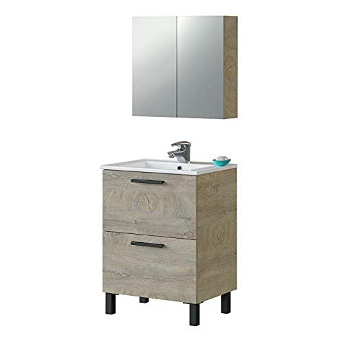 Mueble de Baño con 2 Cajones y Camerino, Modulo Lavabo, Modelo Agadir, Acabado en Roble Alaska, Medidas: 60 cm (Ancho) x 80 cm (Alto) x 45 cm (Fondo)