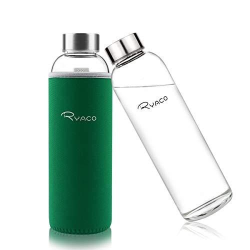 Ryaco Botella de Agua Cristal 550ml, Botella de Agua Reutilizable 18 oz, Sin BPA Antideslizante Protección Neopreno Llevar Manga y Cepillo de Esponja (550ml, Verde)