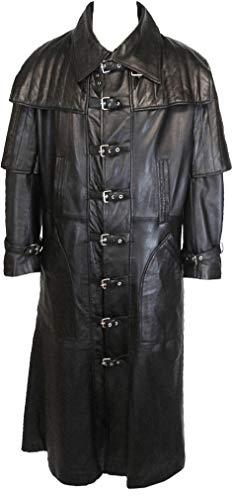 UNICORN Hommes Gothique toute la longueur Réel en cuir Manteau Veste Noir #C4 Taille 36