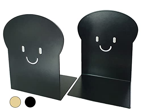 Feel So Goods - Burnt Toast Bookends. Heavy Duty Metal Book end. Book Stopper. Decorative Unique Cute Fun Book Ends for Gift, Home, Kitchen, Office, Shelves, Kids and Children. 2 PCS (Black)