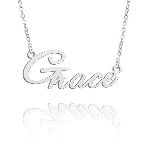 BUREI Damen Personalisierte Name Halskette Silber Anhänger Halskette Geschenke für Grace