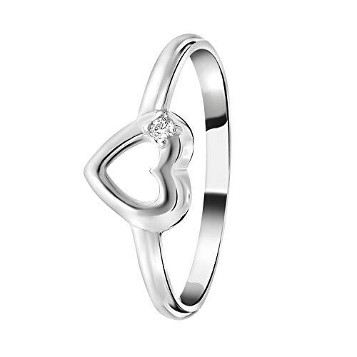 Lucardi - Kinderring, 925 Silber, Herz mit Zirkonia - für Mädchen - 925 Silber