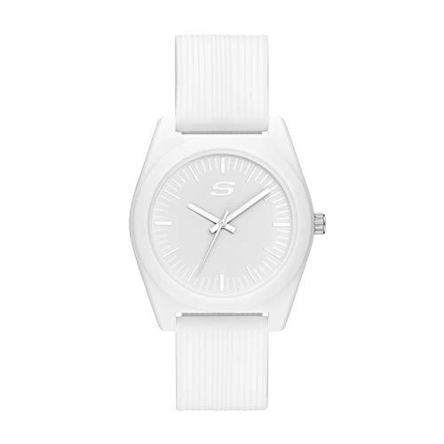 Skechers Unisex Ocean Gate Three-Hand Silicone Quartz Watch, Color: White (Model: SR6182)