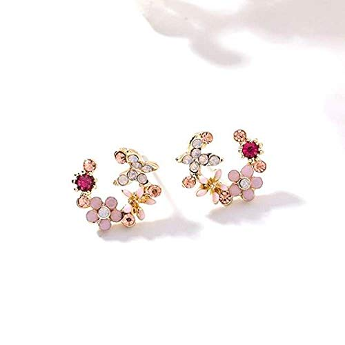HUYV Stud Earrings For Woman,Fashion Pink Rhinestone Round Earring Stainless Steel Stud Earrings For Summer Accessories Birthday Jewelry Gift Men Girls