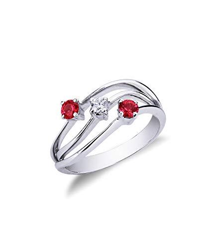 Anello in Oro bianco 18k trilogy con rubini e diamante