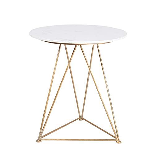Runder Marmortisch, Café-Kaffee-kaffeetische Esstisch Sofa-endtische Stilvolle Kleine Side-Tabelle Für Wohnzimmer - Goldener Eisenrahmen, Weißer Marmor-tischplatte(Size:50CM,Color:Gold)