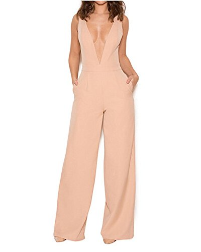 Longwu Femmes Sexy V Cou Spaghetti Strap Jumpsuit Robe Dos Nu sans Manches Wide Leg Salopette Orange-M