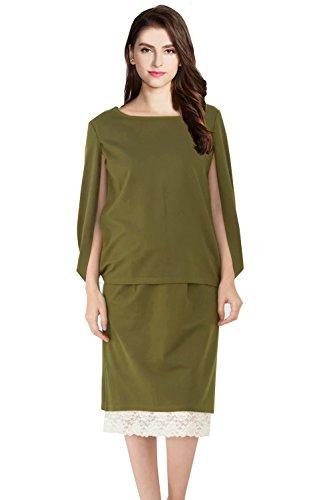 Sweet Mommy Maternity and Nursing Top and Reversible Skirt Elegant Set, Khaki L