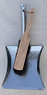 Galvanised Dustpan and Sturdy Wooden Brush - Shabby Chic Vintage Style