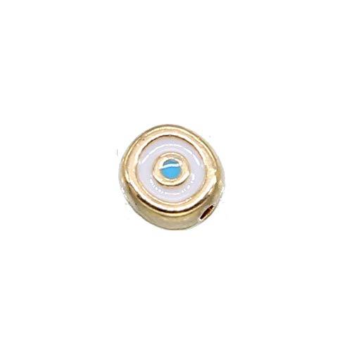 Las nuevas cuentas espaciadoras de metal de aleación de zinc de ojo malvado de cuentas ovaladas de 10 piezas de 6 mm, utilizadas para joyería g DIY brazalete espaciador cuentas-6mm10 piezas KC oro 2