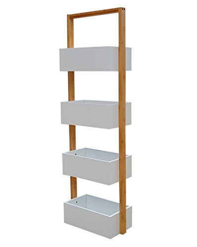 Nordic osoltus Badezimmer Regal Korbregal osoltus I 4 Ablagekörbe Bambus weiß
