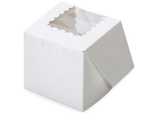 "Bakery Boxes - 4x4x4"" White Window Bakery Boxes 1 - Piece Lock Corner Scallop Window - (100 Per Pack) - WRAPS-BBWHW444"