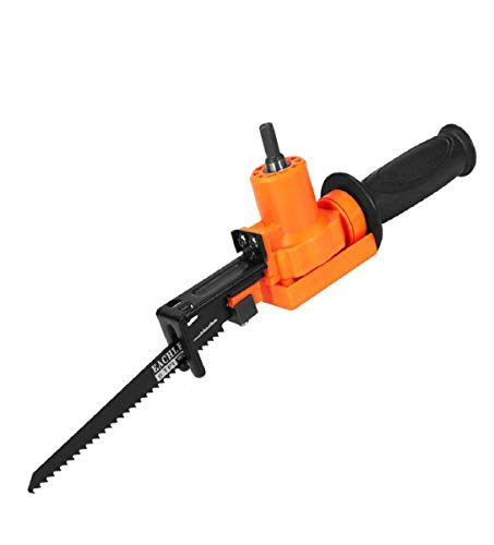 Vacally Electric Alloy Drill Electric Saw Reciprocating Saw Attachment Adapter Change Drill for Wood Metal Cuttin, With Handle, Screwdriver, Saw Blades, Orange