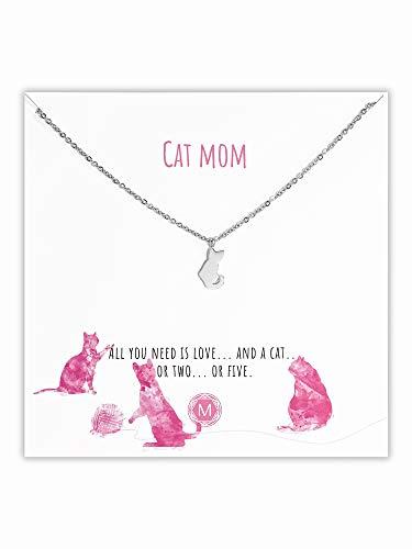 MURANDUM Geschenk Kette mit Katze   Cat Necklace   Damenhalskette mit Katzen Anhänger inklusive Geschenkkarte   Länge verstellbar (Silber)  Geschenk Kette