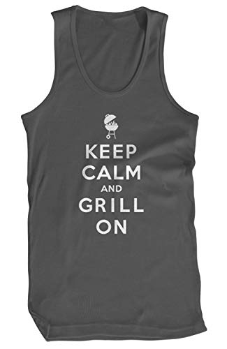 Amdesco Men's Keep Calm and Grill ON Tank Top, Charcoal Grey 3XL