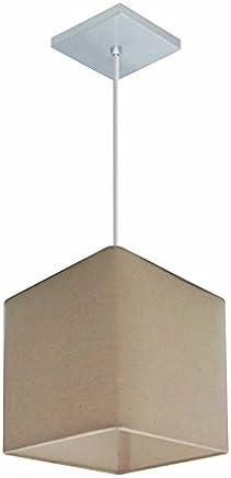 Lustre Pendente Quadrado Cúpula Tecido 16/16x16 cm, Vivare Iluminação, Pendente4224 LA, Algodão Cru, Pequeno