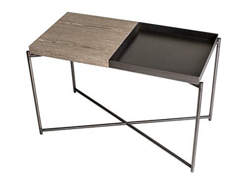 Rectangular Side Table With Tray Top - Weathered Oak Top & Gunmetal Tray, Gun Metal Frame