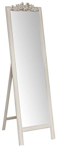 Biscottini Specchio, Specchiera Rettangolare da Terra, con Cornice di Finitura Colore Bianco Anticato, Shabby Chic, Bagno, Camera da Letto, L50xPR3xH175 cm. Stile Shabby Chic.