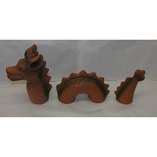 3-tlg. lustiger Deko Drachen Lindwurm 46x9x20cm Garten Figur Polystone Fantasy - 5