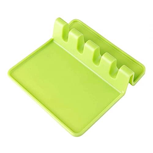 MiOYOOW Soporte de silicona para utensilios de cocina con almohadilla de goteo, 4 rejillas resistentes al calor, para espátulas, cucharones, pinzas