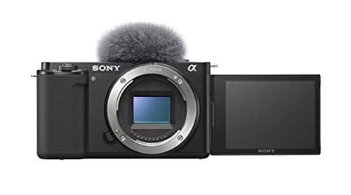 Sony Alpha ZV-E10 - Cámara Vlog de objetivo intercambiable sin espejo APS-C, pantalla de ángulo variable para vlogging, vídeo 4K, enfoque automático en tiempo real, color negro