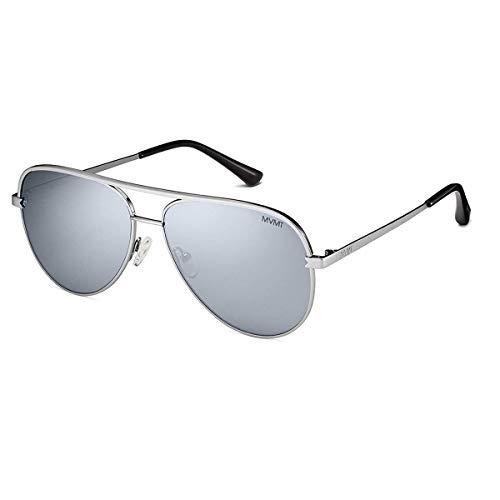 MVMT Maverick   Non-Polarized Round Women's & Men's Aviator Sunglasses   Mirror Silver/Silver