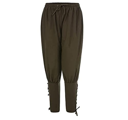 MoreJieka Pantalones de pirata para hombre, pantalones medievales, pantalones vikingos, pantalones sueltos para hombre (color verde militar, tamao: XL)