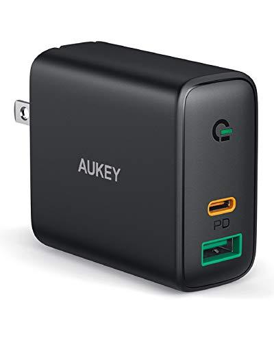 Carregador de parede AUKEY USB C porta dupla 30W com entrega de energia 3.0 e detecção dinâmicapara iPhone 11 Pro Max XS, Google Pixel 3 XL, MacBook, Airpods Pro - Preto