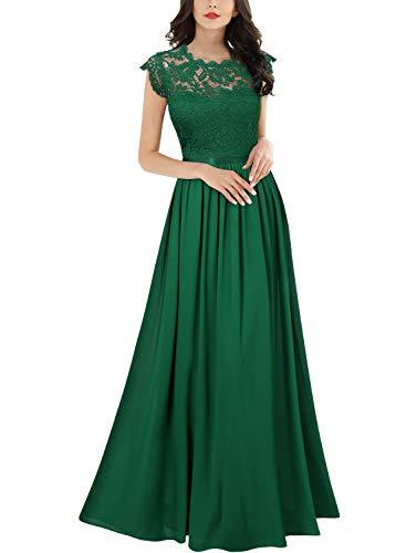 MIUSOL Damen Elegant Ärmellos Rundhals Vintage Herbst Winter Hochzeit Chiffon Faltenrock Langes Kleid Grün Gr.S