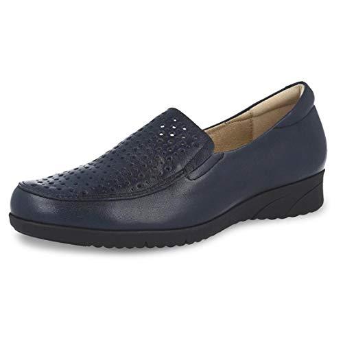 Zapato Mujer Tipo mocasín Marca PITILLOS, en Piel picada napa Color Azul Marino, Plantilla Extraible, Altura 3cm - 2912-928