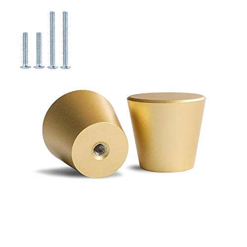 20 tiradores de muebles dorados mate para muebles, color dorado y dorado, redondos, modernos, cónicos cepillados, pequeños, para armario, puertas, color dorado