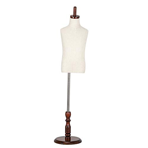 Bonnlo Upgraded Kid Dress Form, 2-3 Years Old, 3-4 Years Old, Toddler Mannequin Torse with Adjustable Rubber Wood Stand for Dress Jewelry Display (3-4 Years Old)
