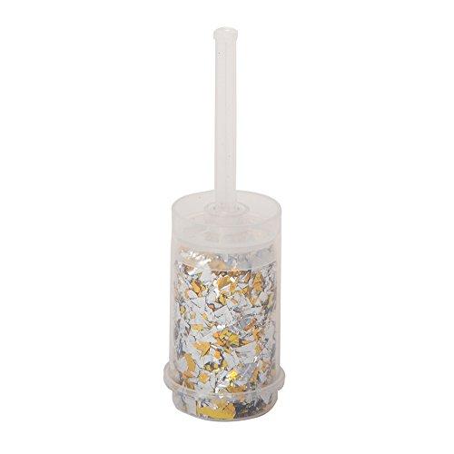 Unique Party- Cañón de confetti metálico, Color plata y oro (63596)
