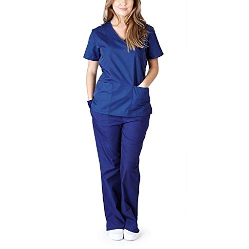 YAnGSale Nursing Working Uniform Set Suit Women Short Sleeve V-Neck Tops and Pants Trousers Solid Color Leggings and Shirts Blouse (Navy, L)