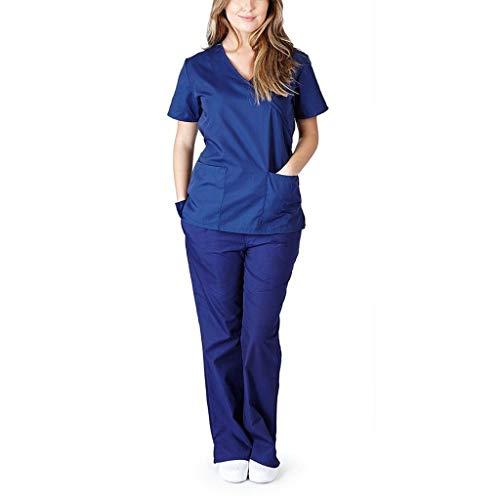 LILICAT Profesional Unisex Traje de Trabajo de Cuidado de Enfermera Camiseta de Manga Corta + Pantalones Conjunto de Trajes Disfraz Rendimiento