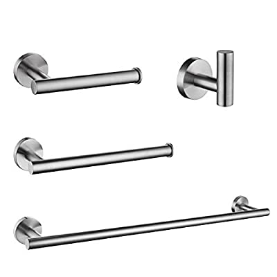 "Nolimas 4-Pieces Set Brushed Nickel Bathroom Hardware Set SUS304 Stainless Steel Round Wall Mounted - Includes 24""&13.5"" Towel Bar,Toilet Paper Holder, Robe Towel Hooks,Bathroom Accessories Kit"