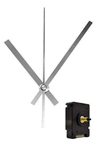 Funkuhrwerk Funk DCF Radio lautlos geräuschlos Quarz-Uhrwerk Uhrzeiger Satz Zeiger Silber 120 mm #50 (Silber, N: Ziffernblattdicke 4-7 mm mit Wandaufhängung)