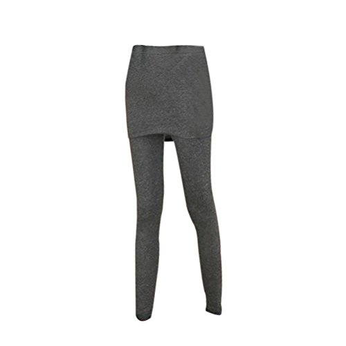 OULII Rock mit Hose 2 in 1 Leggings für Sport Tennis Yoga Jogging(Dunkelgrau)